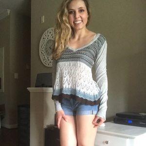 Boho Long Sleeve Crochet Top